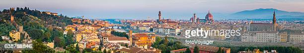 florence landmark sunrise panorama duomo villas spires cityscape tuscany italy - florence italy stock pictures, royalty-free photos & images