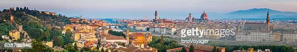 florence landmark sunrise panorama duomo villas spires cityscape tuscany italy - florence italy stockfoto's en -beelden