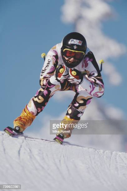 Florence Masnada of France in the tuck position skiing the Women's Super Giant Slalom event on 15 February 1994 during the XVII Olympic Winter Games...