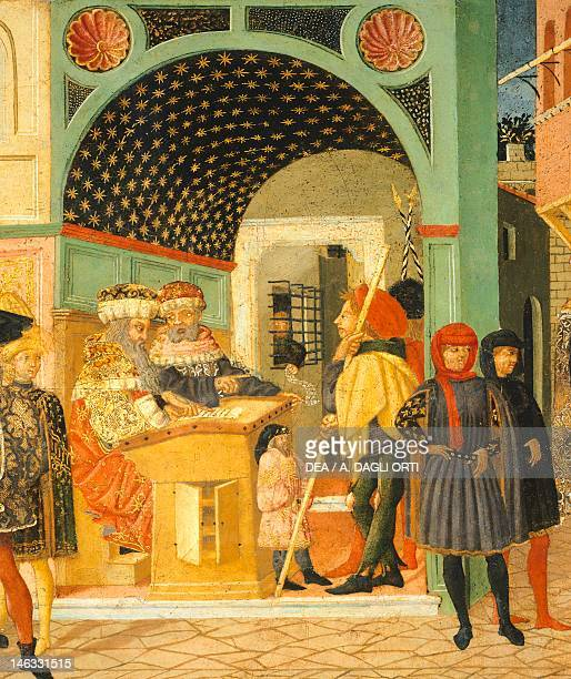Florence Museo Della Casa Fiorentina Antica Stories of Susanne ca 1450 right side of a painted chest by Giovanni di Ser Giovanni known as Lo Scheggia...