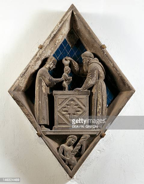 Florence Museo Dell'Opera Di Santa Maria Del Fiore Baptism by Alberto Arnoldi tile from the bell tower of Giotto in the Cathedral of Santa Maria del...