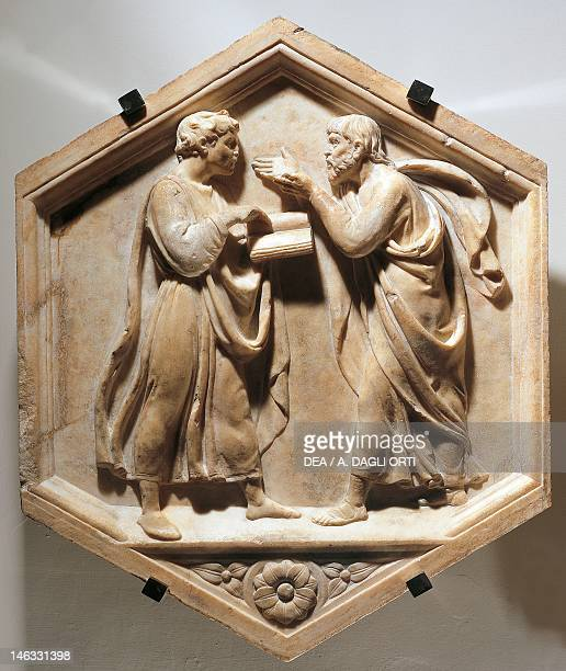 Florence Museo Dell'Opera Di Santa Maria Del Fiore Plato and Aristotle in discussion by Luca della Robbia marble tile