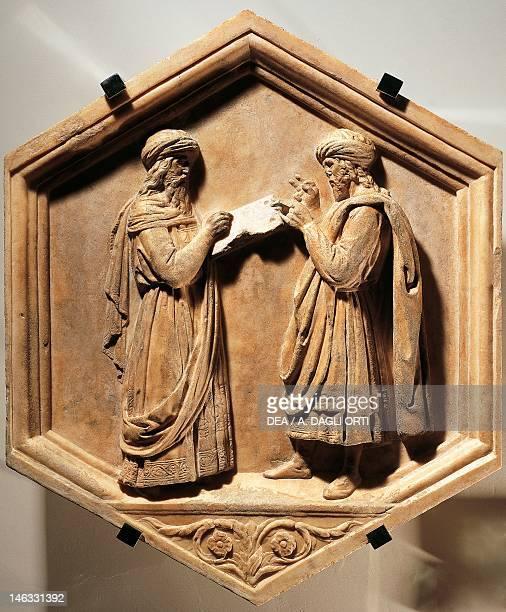 Florence Museo Dell'Opera Di Santa Maria Del Fiore Pythagoras and Euclid by Luca della Robbia marble tile