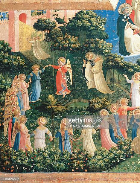 Florence Museo Di San Marco circle of angels and the Gates of Heaven detail from the Last Judgement by Giovanni da Fiesole known as Fra Angelico...