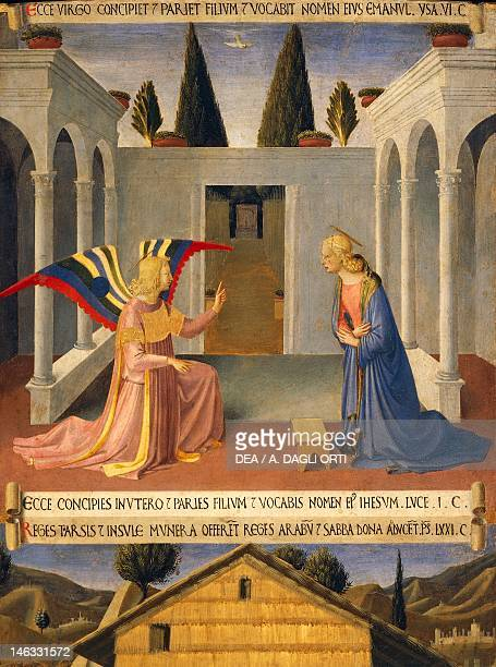 Florence Museo Di San Marco Inset depicting the Annunciation panel from the Armadio degli Argenti with the life of Jesus 14511453 by Giovanni da...