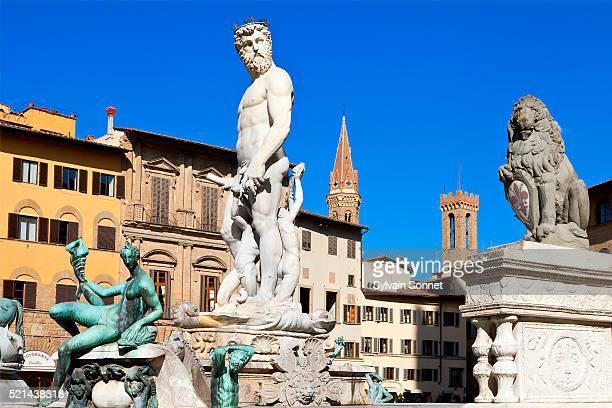 florence, neptune fountain in piazza della signoria - シニョーリア広場 ストックフォトと画像