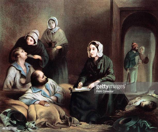 Florence Nightingale British nurse and hospital reformer at Scutari Hospital Turkey writing letters for wounded soldiers of the Crimean War 1855...
