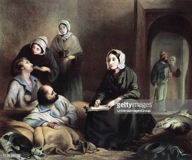 Florence Nightingale British nurse and statistician, in hospital at Scutari 1 January 1855 writing letters for wounded soldiers of the Crimean War.