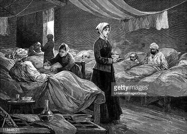 Florence Nightingale English nurse in the barrack hospital at Scutari during the Crimean War Wood engraving c1880