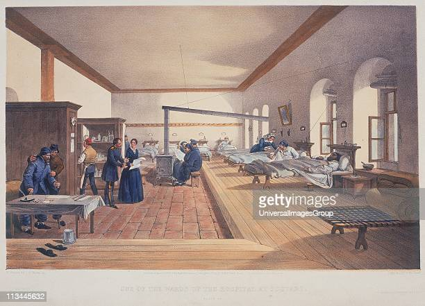 Florence Nightingale English nursing pioneer and hospital reformer inspecting wards of the military hospital at Scutari during the Crimean War...