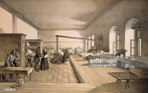 Florence Nightingale in one of the wards of the hospital at Scutari From print published 1856 after a picture by William Simpson lithograph by EWalker