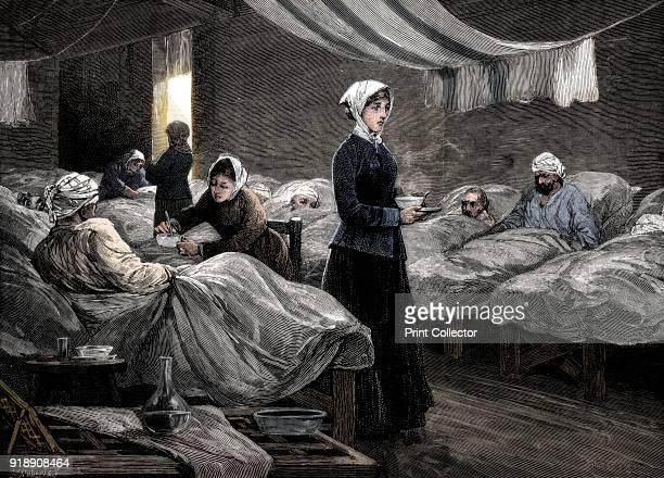 Florence Nightingale in the barrack hospital at Scutari c1880 Engraving made c1880 showing the barrack hospital during the 1850s In 1854 during the...