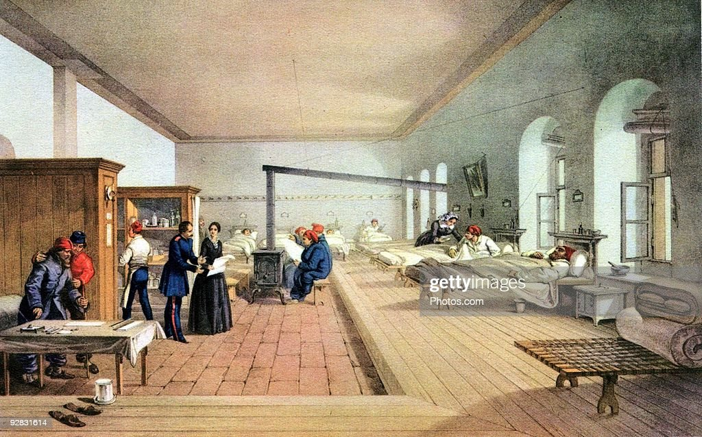 Florence Nightingale inspecting hospital ward during the Crimean War : Stock Photo