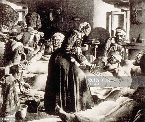 Florence Nightingale known as the Lady of the Lamp assists a patient Nightingale was a nurse hospital reformer and philanthropist