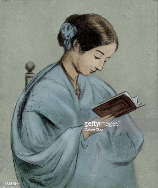 Florence Nightingale - portrait with a book. English nurse, writer and statistician, recognised for her pioneering work in nursing during the Crimean...