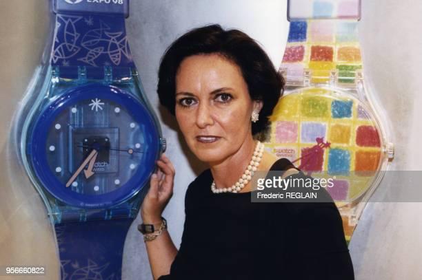 Florence Ollivier Directrice générale de Swatch France lors de la soirée d'ouverture du Swatch Mégastore sur les Champs Elysées 4 septembre 1998...