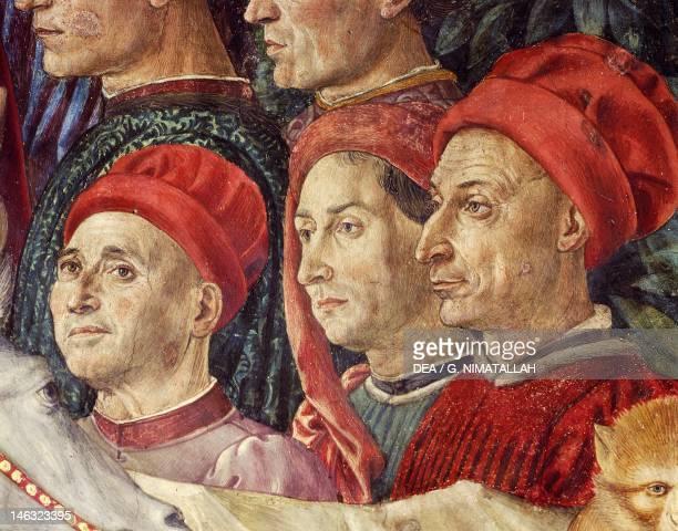 Florence Palazzo MediciRiccardi Procession of the Magi Kings to Bethlehem by Benozzo Gozzoli fresco tempera and oil on wall Detail Chapel of Palazzo...
