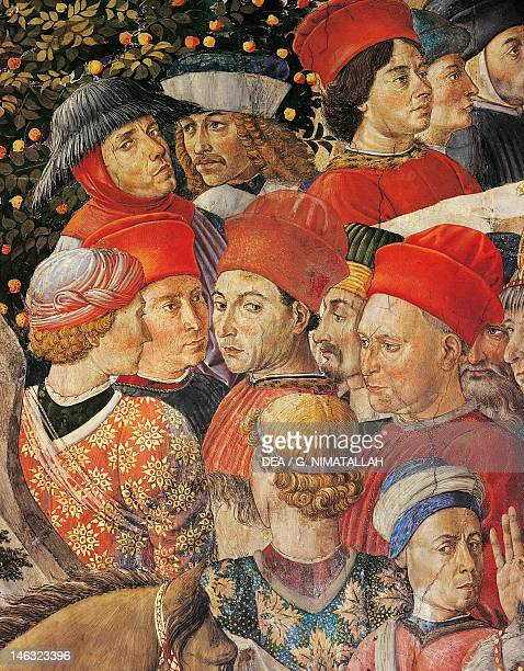 Florence Palazzo MediciRiccardi The cavalcade of the Magi by Benozzo Gozzoli fresco Detail depicting the parade from the west wall Palazzo Medici...