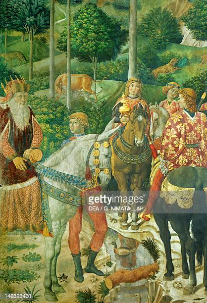 Florence Palazzo MediciRiccardi The cavalcade of the Magi by Benozzo Gozzoli fresco Detail depicting the parade from the west wall showing Joseph the...
