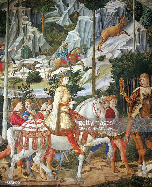 Florence Palazzo MediciRiccardi The cavalcade of the Magi by Benozzo Gozzoli fresco Detail depicting the parade from the east wall showing Lorenzo...