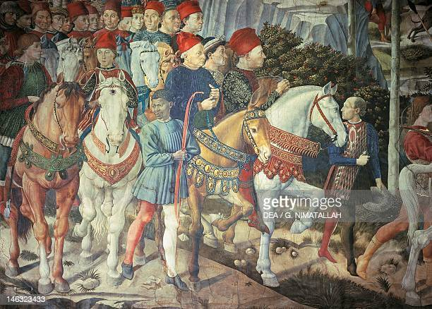Florence Palazzo MediciRiccardi The cavalcade of the Magi by Benozzo Gozzoli fresco Detail depicting the parade from the east wall showing Cosimo the...