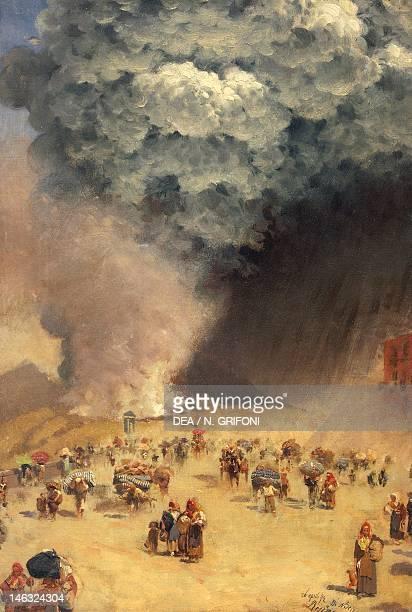 Florence, Palazzo Pitti Galleria D'Arte Moderna Eruption of Vesuvius by Giuseppe de Nittis , oil on canvas, 42x28.5 cm.