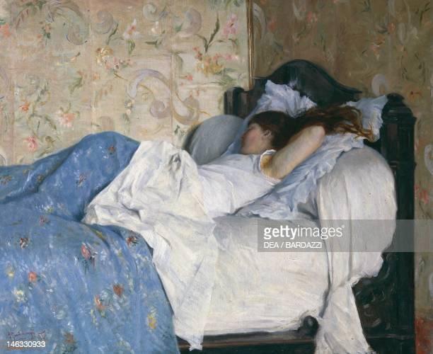 Florence Palazzo Pitti Galleria D'Arte Moderna In bed sleeping girl by Federico Zandomeneghi oil on canvas 605x745 cm
