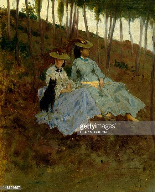 Florence, Palazzo Pitti Galleria D'Arte Moderna Ladies in the countryside, 1890-1895, by Tito Conti , oil on cardboard, 20x25 cm.