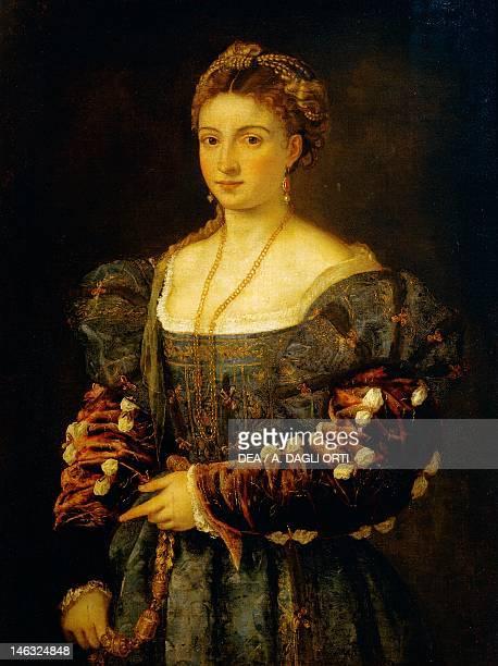 Florence Palazzo Pitti Galleria Palatina La bella by Titian oil on canvas 89x75 cm