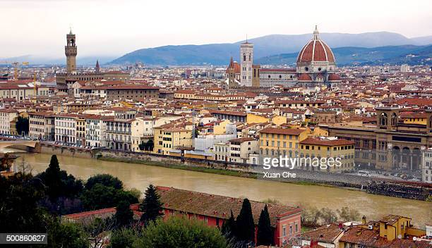 florence panorama from piazza michelangelo - xuan che stock pictures, royalty-free photos & images
