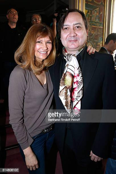 Florence Pernel and Michel Fau actor and stage director of Un amour qui ne finit pas and Fleur de cactus who receives the Prix du Brigadier 2015...