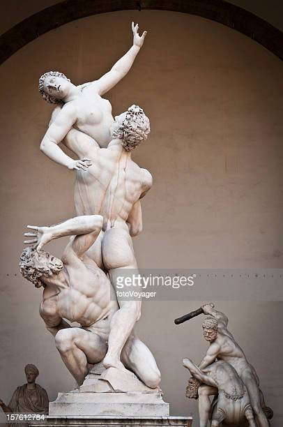 florence piazza della signoria loggia dei lanzi rennaissnce statues italy - florence italy stock pictures, royalty-free photos & images