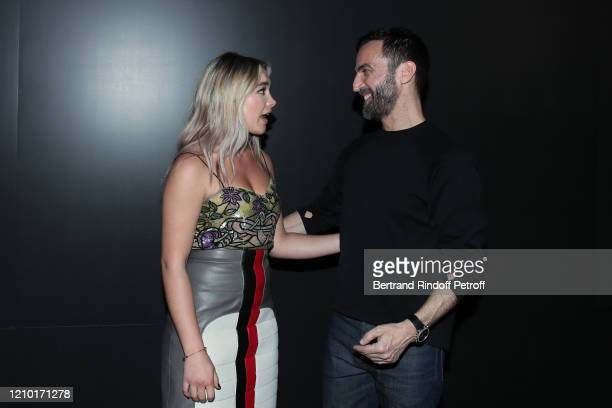 Florence Pugh and Designer Nicolas Ghesquière pose after the Louis Vuitton show as part of the Paris Fashion Week Womenswear Fall/Winter 2020/2021 on...