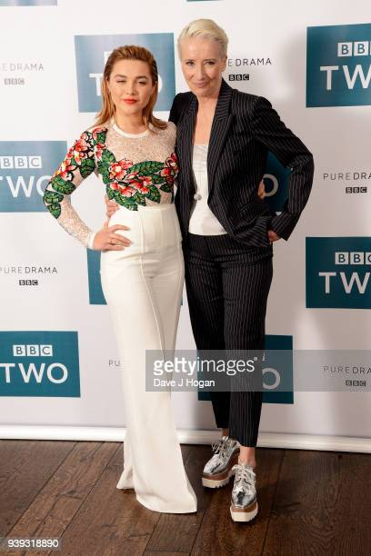 Florence Pugh and Emma Thompson attend a screening of King Lear at Soho Hotel on March 28 2018 in London England