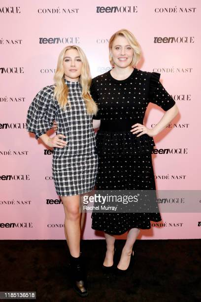 Florence Pugh and Greta Gerwig attend the Teen Vogue Summit 2019 at Goya Studios on November 02 2019 in Los Angeles California