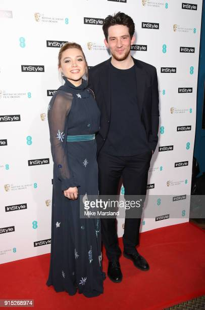Florence Pugh and Josh O'Connor attend the EE InStyle Party held at Granary Square Brasserie on February 6 2018 in London England