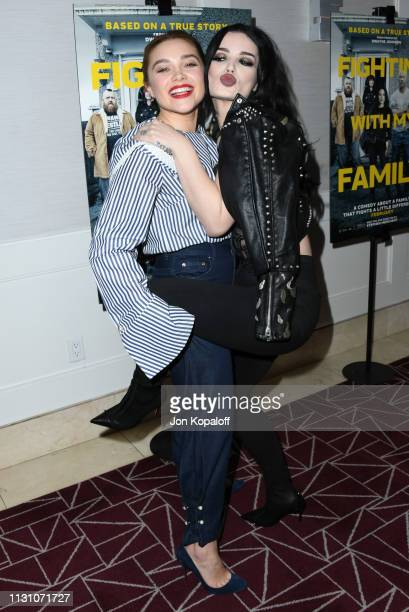 Florence Pugh and Paige Bevis attend Fighting With My Family Los Angeles Tastemaker Screening at The London Hotel on February 20 2019 in West...