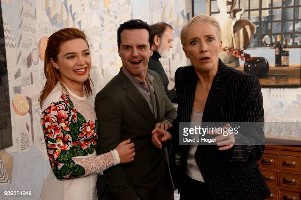 Florence Pugh Andrew Scott and Emma Thompson attend a screening of 'King Lear' at Soho Hotel on March 28 2018 in London England