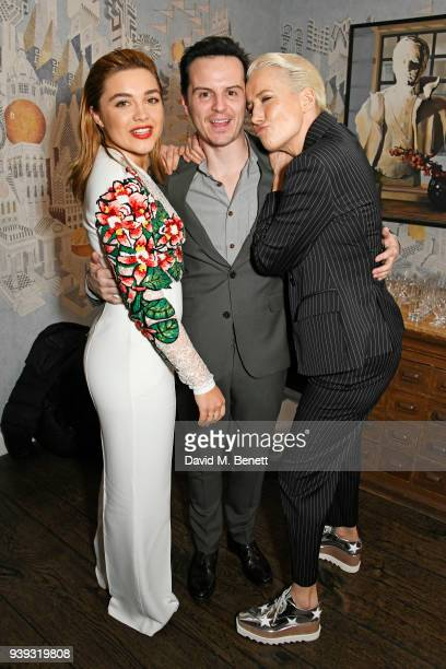 Florence Pugh Andrew Scott and Emma Thompson attend a special screening of new BBC Two drama 'King Lear' at The Soho Hotel on March 28 2018 in London...