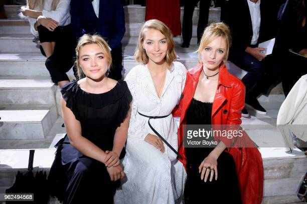 Florence Pugh Arizona Muse and Daria Strokous attend the Christian Dior Couture S/S19 Cruise Collection on May 25 2018 in Chantilly France