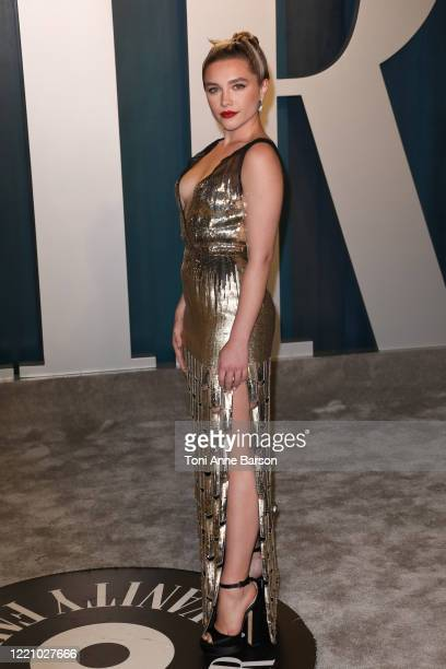 Florence Pugh attends the 2020 Vanity Fair Oscar Party at Wallis Annenberg Center for the Performing Arts on February 09, 2020 in Beverly Hills,...