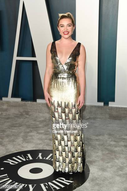 Florence Pugh attends the 2020 Vanity Fair Oscar party hosted by Radhika Jones at Wallis Annenberg Center for the Performing Arts on February 09,...