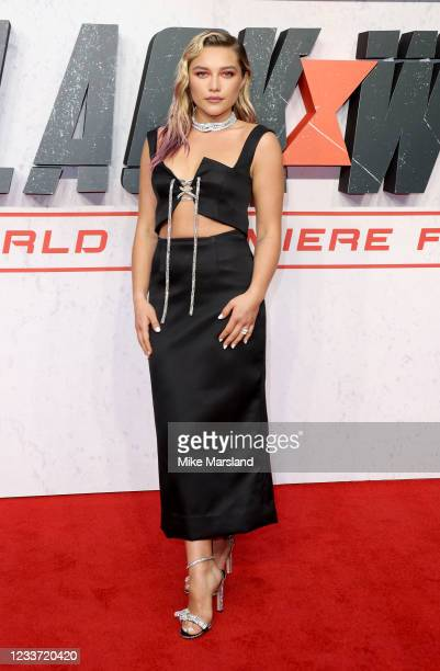 """Florence Pugh attends the """"Black Widow"""" UK Film Premiere at Cineworld Leicester Square on June 29, 2021 in London, England."""