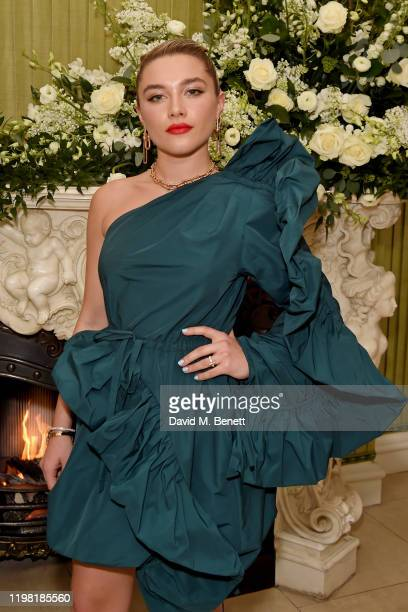 Florence Pugh attends the British Vogue and Tiffany Co Fashion and Film Party at Annabel's on February 2 2020 in London England