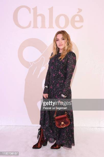 Florence Pugh attends the Chloe show as part of the Paris Fashion Week Womenswear Fall/Winter 2019/2020 on February 28, 2019 in Paris, France.
