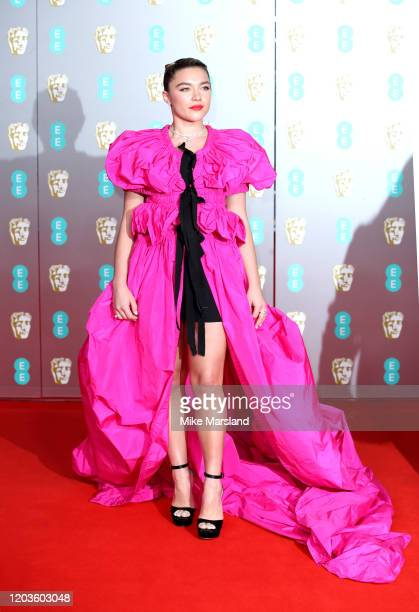 Florence Pugh attends the EE British Academy Film Awards 2020 at Royal Albert Hall on February 02, 2020 in London, England.