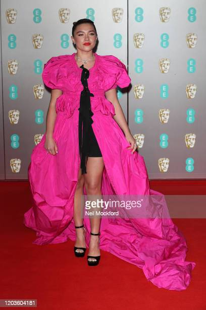 Florence Pugh attends the EE British Academy Film Awards 2020 at Royal Albert Hall on February 02 2020 in London England