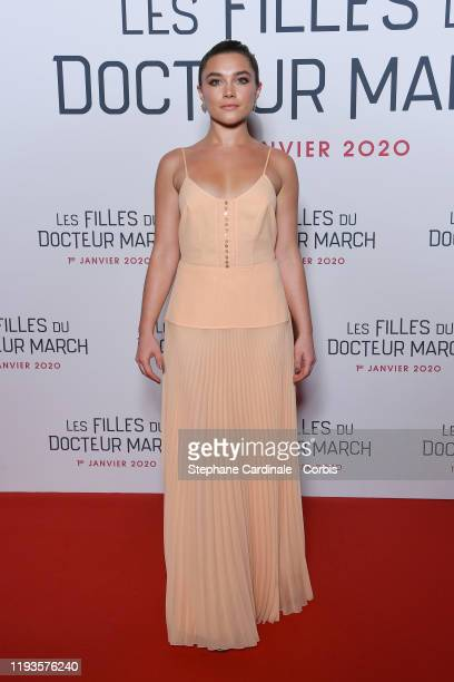 "Florence Pugh attends the ""Little Women"" Premiere at Cinema Gaumont Marignan on December 12, 2019 in Paris, France."