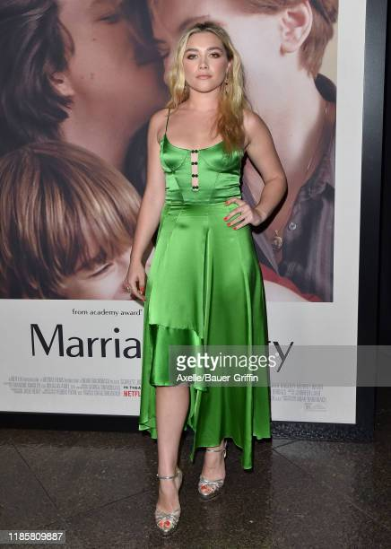 "Florence Pugh attends the Premiere of Netflix's ""Marriage Story"" at DGA Theater on November 05, 2019 in Los Angeles, California."