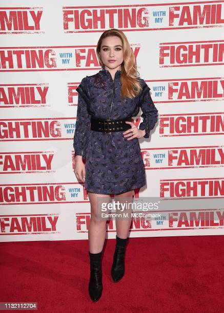 "Florence Pugh attends the UK Premiere of ""Fighting With My Family"" at BFI Southbank on February 25, 2019 in London, England."